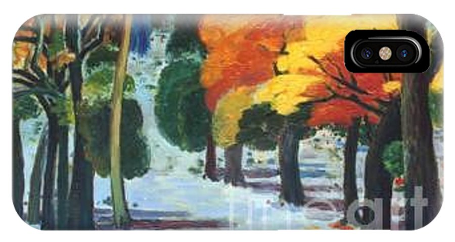 Colors IPhone X / XS Case featuring the painting Colors Of Fall by Meihua Lu