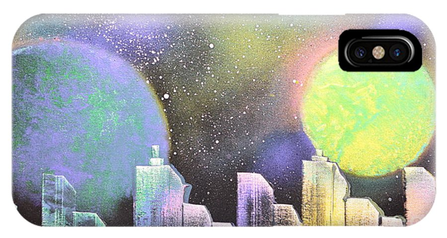 Planets IPhone X Case featuring the painting Colors Of The City by Zack Anderson