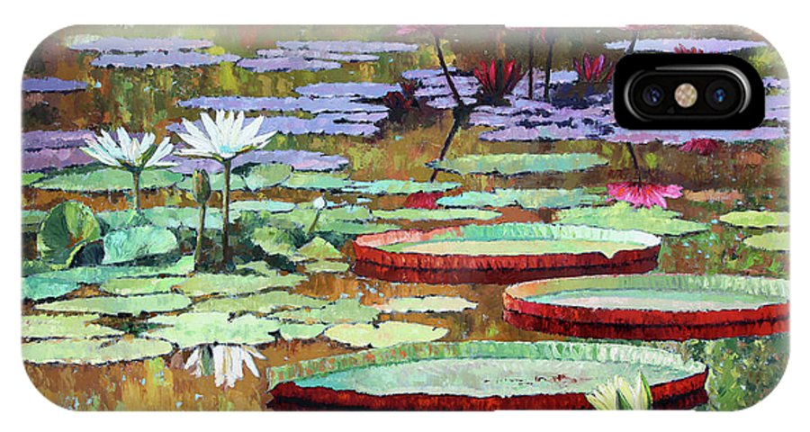 Garden Pond IPhone X Case featuring the painting Colors on the Lily Pond by John Lautermilch