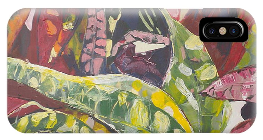 Red IPhone X / XS Case featuring the painting Coloured Leaves by Jan Farara