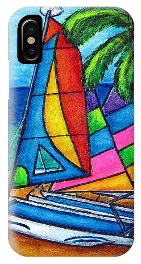 Water IPhone X Case featuring the painting Colourful Hobby by Lisa Lorenz