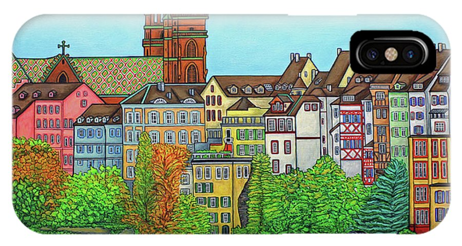 Lisa Lorenz IPhone X Case featuring the painting Basel, Colours of Basel by Lisa Lorenz