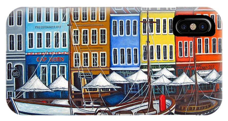 Nyhavn IPhone X Case featuring the painting Colours of Nyhavn by Lisa Lorenz