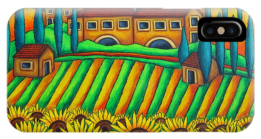 Tuscany IPhone X Case featuring the painting Colours of Tuscany by Lisa Lorenz