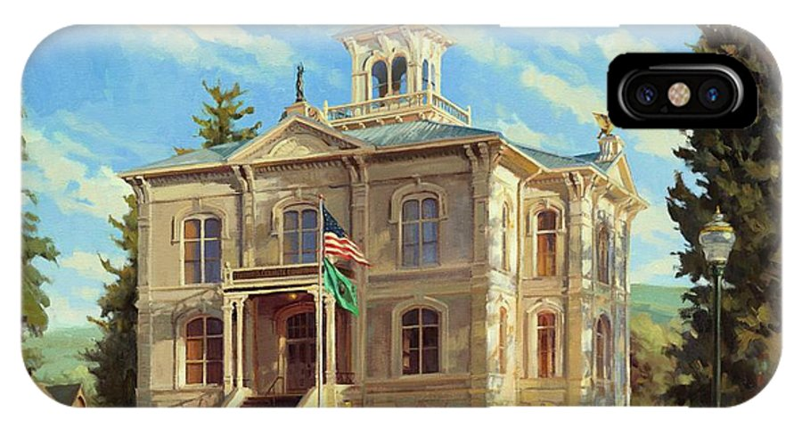 Courthouse IPhone X Case featuring the painting Columbia County Courthouse by Steve Henderson