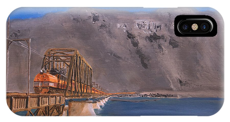 Train IPhone X Case featuring the painting Columbia Crossing by Christopher Jenkins