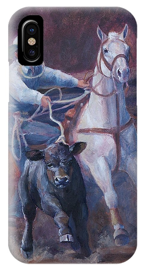Calf IPhone X Case featuring the painting Comin At Ya   Calf Roping Painting by Kim Corpany