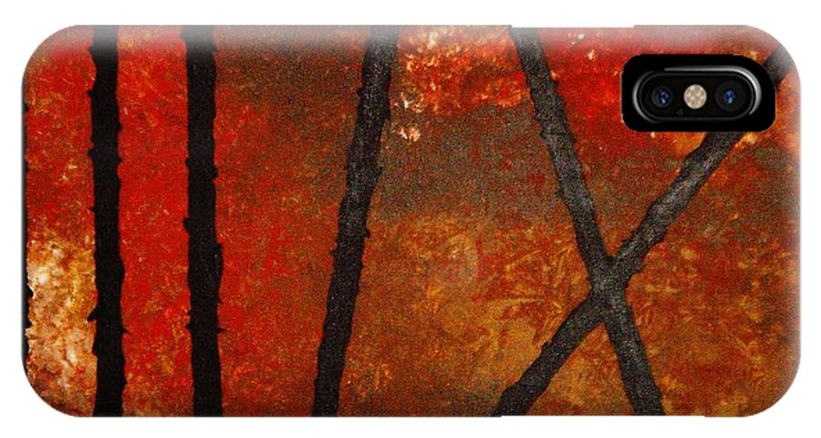 Original Abstract Acrylic IPhone X Case featuring the painting Coming Apart by Todd Hoover