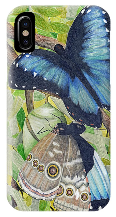 Butterfly IPhone X Case featuring the painting Coming Out by Mary Tuomi