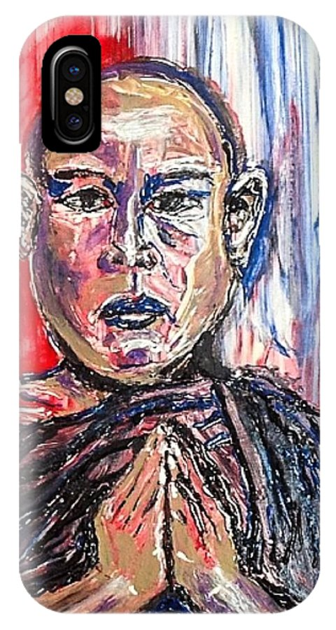 Man IPhone X Case featuring the painting Committed by Paula Baker