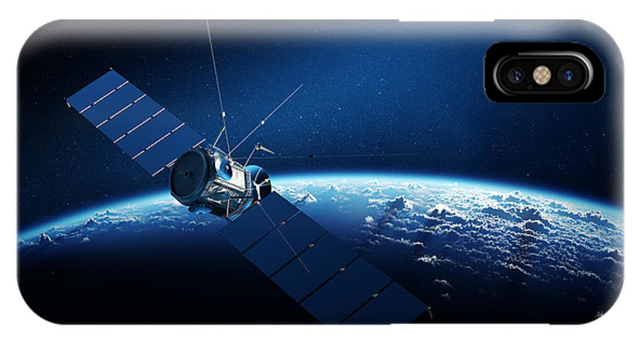 Satellite IPhone X Case featuring the digital art Communications Satellite Orbiting Earth by Johan Swanepoel