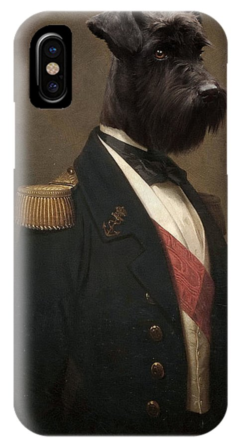 Portrait IPhone X Case featuring the painting Sir Schnauzer The Magnificent by Matt Van Gorkom