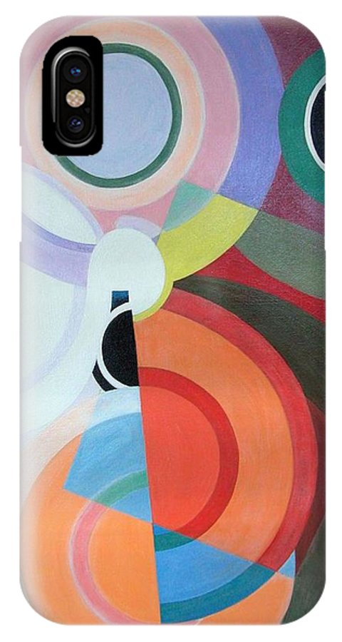 Abstract IPhone X Case featuring the painting Complement by Muriel Dolemieux