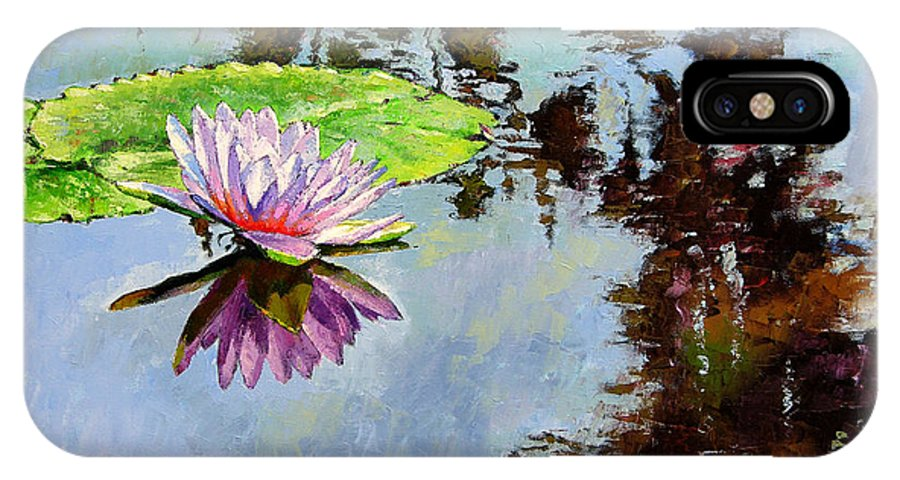 Water Lily IPhone X Case featuring the painting Composition Of Beauty by John Lautermilch