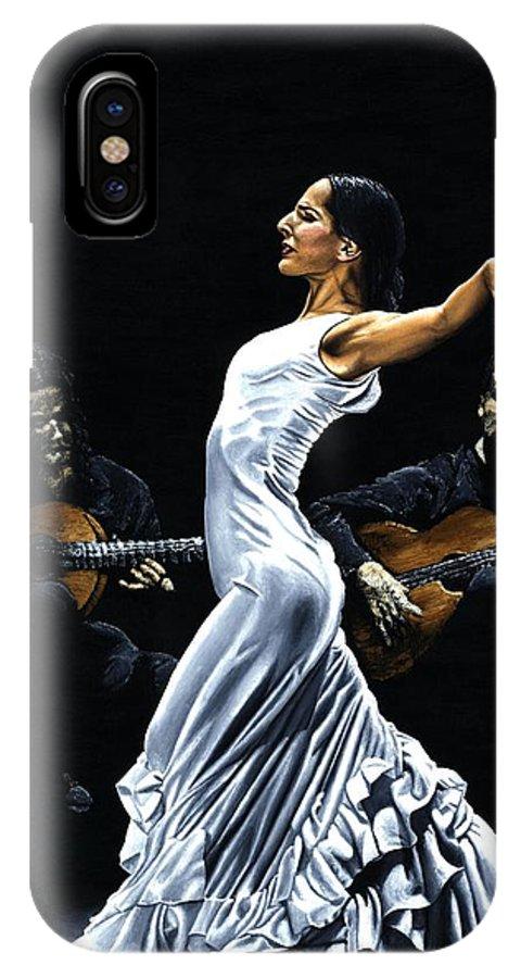 Flamenco IPhone X Case featuring the painting Concentracion Del Funcionamiento Del Flamenco by Richard Young