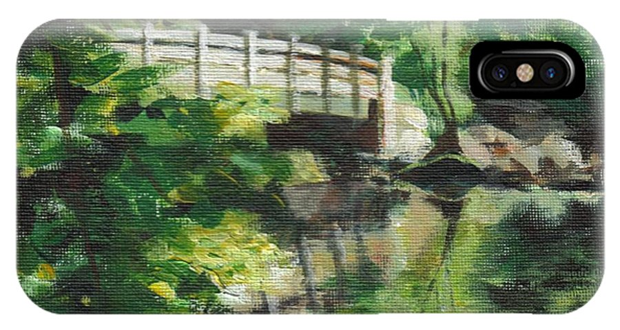 Concord IPhone X Case featuring the painting Concord River Bridge by Claire Gagnon