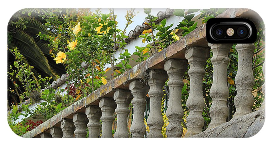 Banister IPhone X Case featuring the photograph Concrete Banister And Plants by Robert Hamm