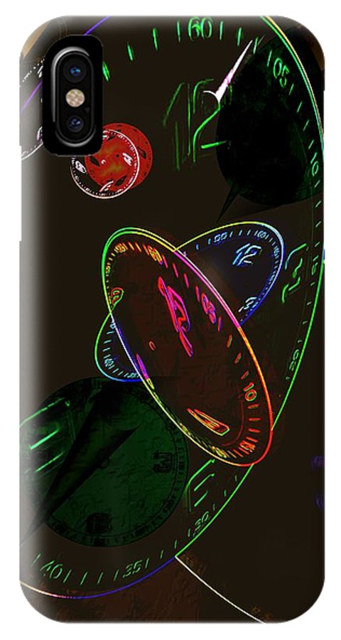 Clocks IPhone X Case featuring the digital art Concurrent Clocks by Helmut Rottler