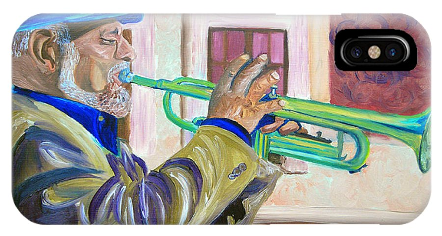 Street Musician IPhone Case featuring the painting Confederate Bugular by Michael Lee