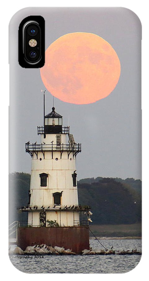 IPhone X Case featuring the photograph Conimicut Moon 2 by Donna J Brooks
