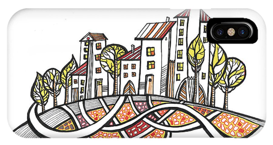 Houses IPhone X Case featuring the drawing Connections by Aniko Hencz