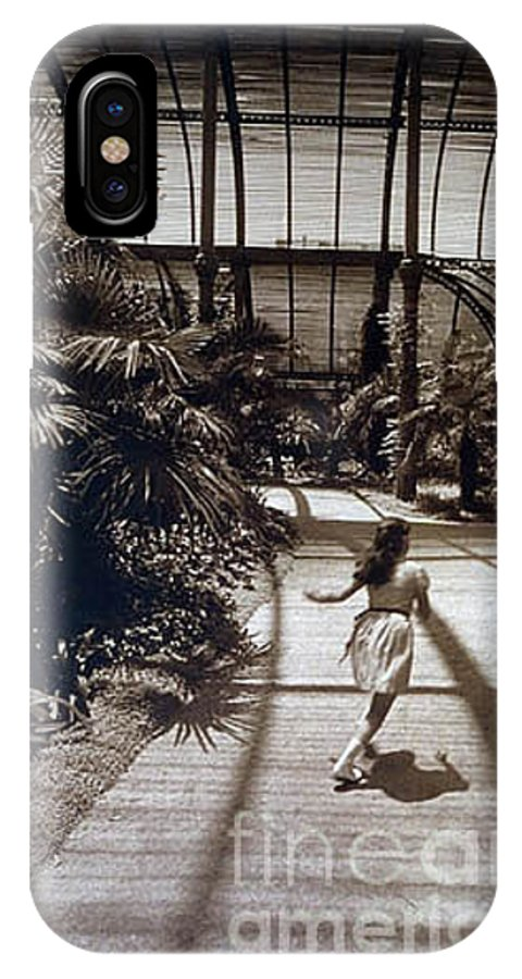 Sepia IPhone X Case featuring the photograph Conservatory, Barcelona 1976 by Michael Ziegler