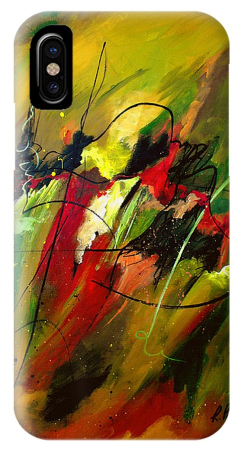 Abstract IPhone X Case featuring the painting Contemplating Perseverance by Ruth Palmer