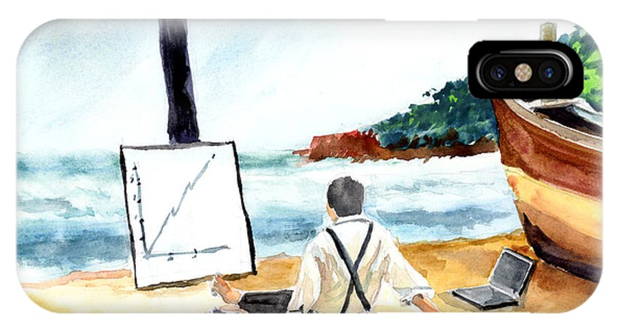Landscape IPhone X Case featuring the painting Contemplation by Anil Nene