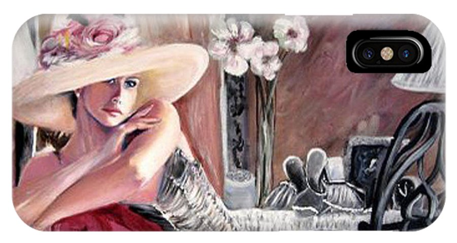 Figurative IPhone X / XS Case featuring the painting Contemplation by Tina Swindell
