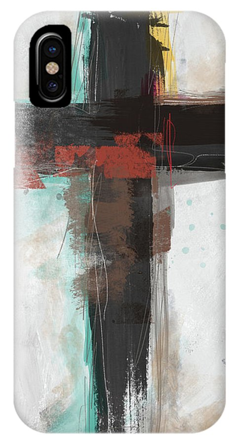 Cross IPhone X Case featuring the mixed media Contemporary Cross 1- Art By Linda Woods by Linda Woods