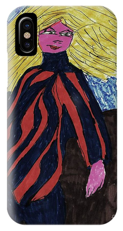 Blonde Hair With Blue And Red Top IPhone X Case featuring the mixed media Contemporary Look by Elinor Rakowski