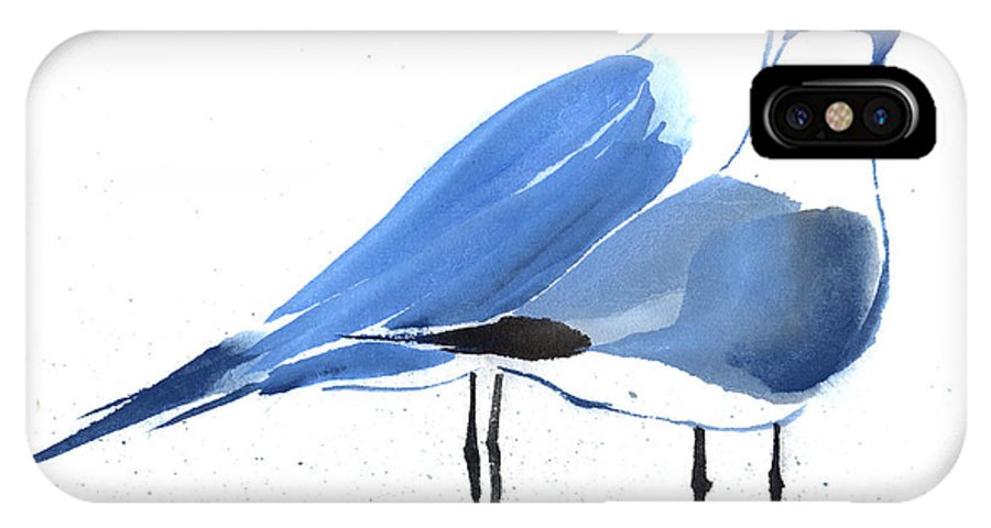 A Couple Of Sea Birds Standing Still.  This Is A Contemporary Chinese Ink And Color On Rice Paper Painting With Simple Zen Style Brush Strokes.  IPhone X Case featuring the painting Content by Mui-Joo Wee