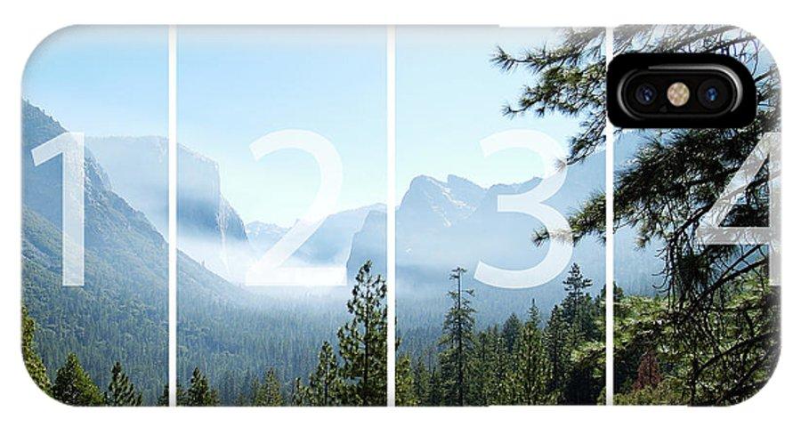 El Capitan IPhone X / XS Case featuring the digital art Controlled Burn Of Yosemite Panoramic Map by Michael Bessler