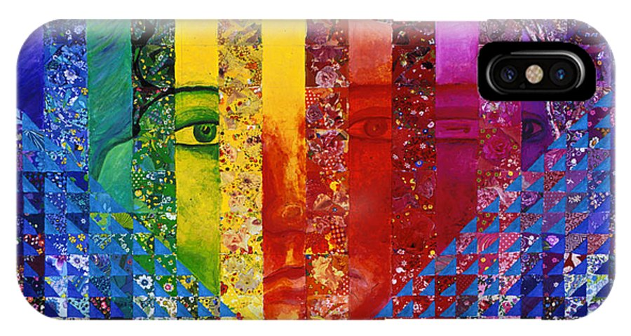 Colorful IPhone Case featuring the mixed media Conundrum I - Rainbow Woman by Diane Clancy