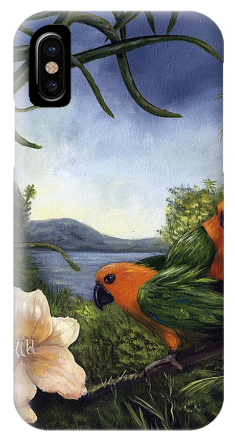 Landscape IPhone X Case featuring the painting Conures by Anne Kushnick