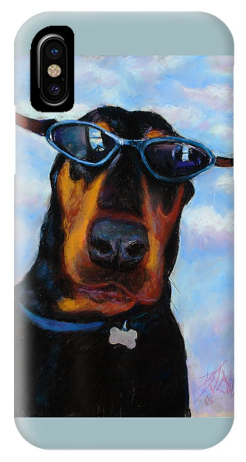 Doberman Pincher Art IPhone Case featuring the painting Cool Dob by Billie Colson