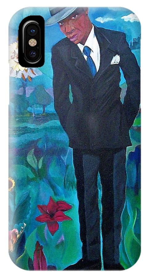 Man IPhone X Case featuring the painting Cooler By The Lake/male by Joyce Owens
