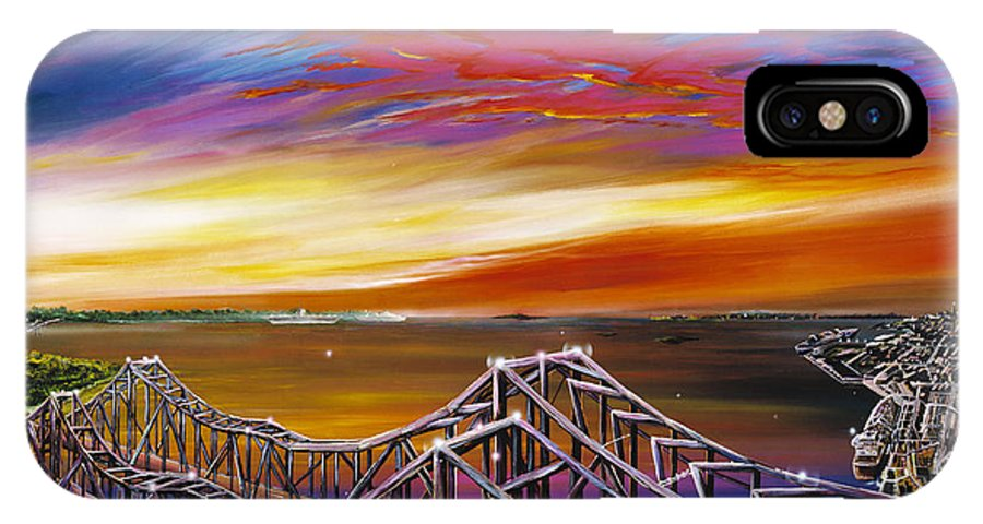 Clouds IPhone X Case featuring the painting Cooper River Bridge by James Christopher Hill