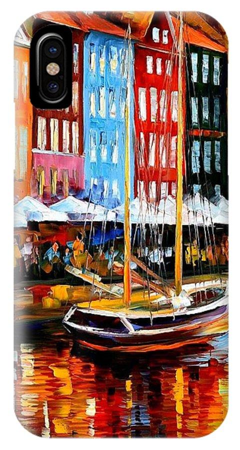 Afremov IPhone X Case featuring the painting Copenhagen Denmark by Leonid Afremov