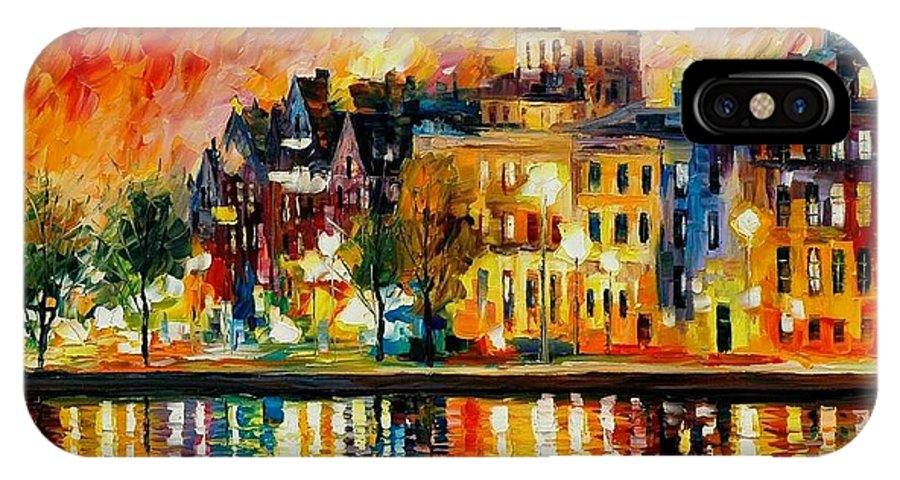 City IPhone X Case featuring the painting Copenhagen Original Oil Painting by Leonid Afremov