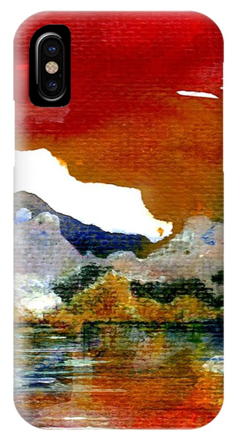 Copper Lake IPhone X Case featuring the painting Copper Lake by Melody Horton Karandjeff