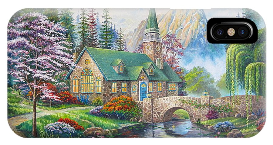 Dogwood Chapel IPhone X Case featuring the painting copy of Dogwood Chapel by Elena Yalcin