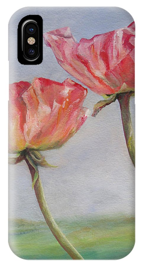 Floral Painting IPhone X Case featuring the painting Coquelicots De Californie by Muriel Dolemieux