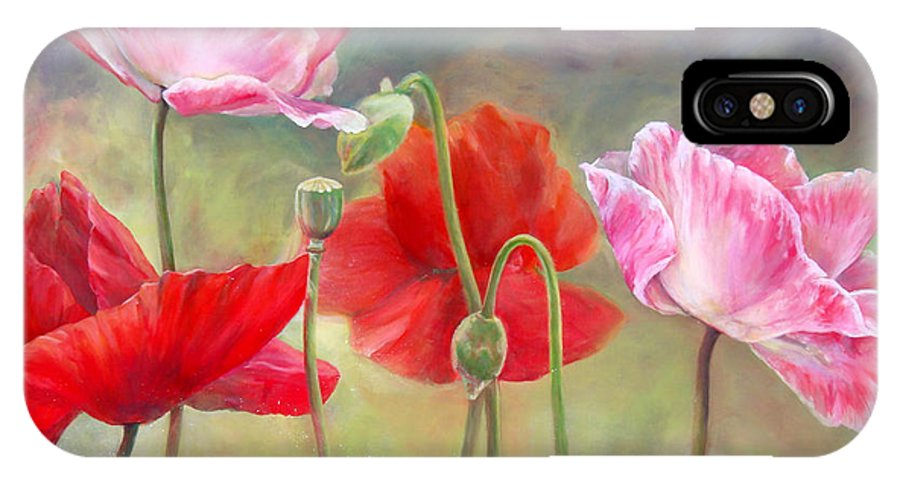 Floral Painting IPhone X Case featuring the painting Coquelicots by Muriel Dolemieux