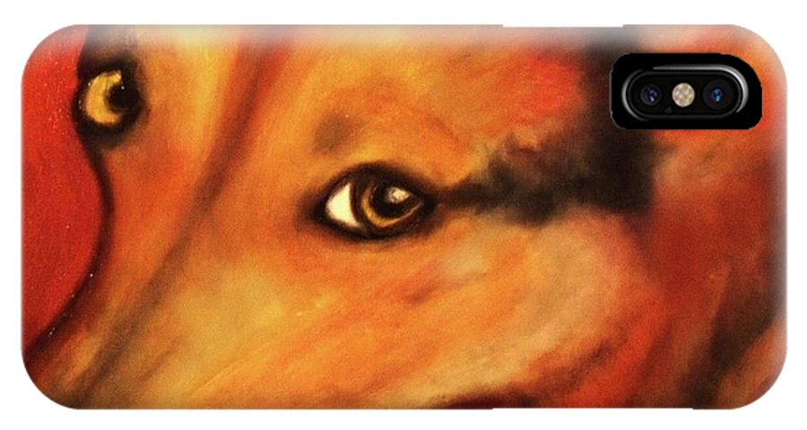Dog Art IPhone X Case featuring the painting Corgi- Ellie Mae by Laura Grisham