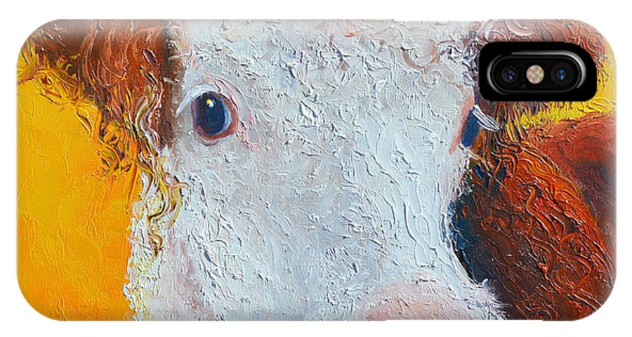 Cow IPhone X Case featuring the painting Coriander The Cow by Jan Matson