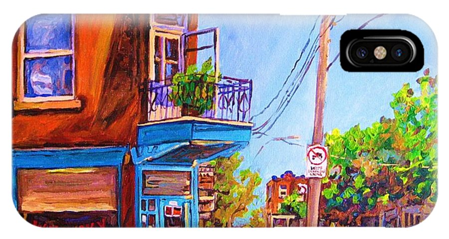 Wilenskys Corner Fairmount And Clark IPhone X / XS Case featuring the painting Corner Deli Lunch Counter by Carole Spandau