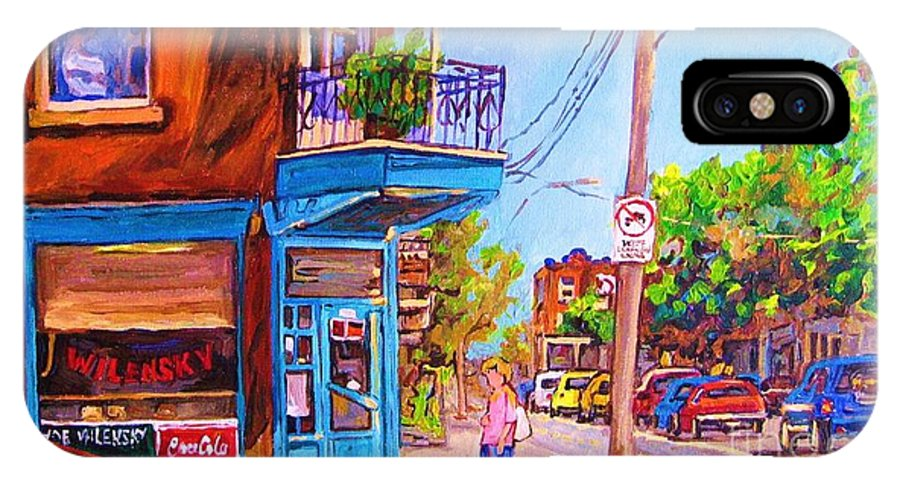 Wilenskys Corner Fairmount And Clark IPhone X Case featuring the painting Corner Deli Lunch Counter by Carole Spandau