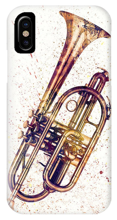 Cornet IPhone X Case featuring the digital art Cornet Abstract Watercolor by Michael Tompsett
