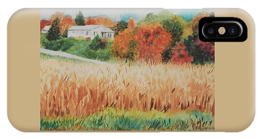 Autumn IPhone X Case featuring the painting Cornfield in Autumn by Judy Swerlick
